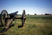 stock photo of rebs  - Napoleon 12 lb cannon Confederate lines Civil War battlefieldGettysburg National Battlefield ParkPennsylvania