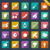 Fruit and vegetables icons �¢�?�? flat design