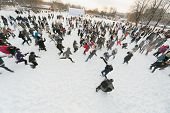 MOSCOW - DEC 9: A lot of people are having fun throwing snow at each other in Central Park of Cultur