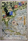 Medieval Map Showing Part Of North America And Florida poster