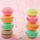 Two Piles Of Colorful Macaroons
