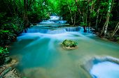 stock photo of cataract  - Huay Mae Khamin Paradise Waterfall located in deep forest of Thailand. Huay Mae Khamin - Waterfall is so beautiful of waterfall in Thailand Huay Mae Khamin National Park Kanchanaburi Thailand.