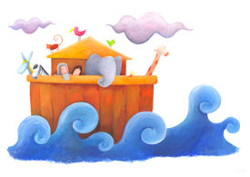 image of noah  - Noah and his wife on the wooden ark surrounded by animals - JPG
