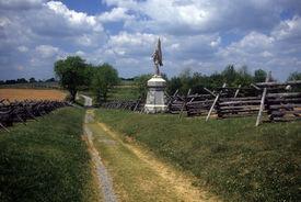stock photo of rebs  - Rail fences along the Sunken Road at the Antietam National Battlefield American Civil WarMaryland  - JPG