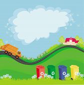picture of segregation  - segregation of garbage abstract card with the ecological landscape  - JPG