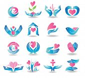 stock photo of cardiology  - Various colorful health care cardiology icons - JPG