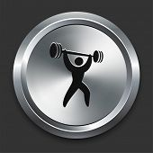 foto of snatch  - Weight Lift Icon on Metallic Button Collection - JPG