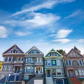 stock photo of victorian houses  - San Francisco Victorian houses in Haight Ashbury of California USA - JPG