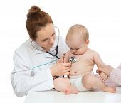 picture of auscultation  - Doctor or nurse auscultating child baby patient heart with stethoscope physical therapy closeup composition on a white background - JPG