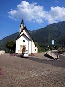 Small Catholic Church In The Resort Town Of Dimaro In The Brenta Dolomites