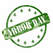 Green Weathered Arbor Day Stamp Circle And Trees
