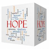 pic of idealistic  - Hope 3D cube Word Cloud Concept with great terms such as optimistic goal wish and more - JPG