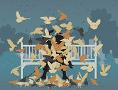 Editable vector illustration of a man on a park bench smothered by pigeons