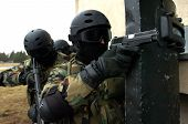 image of anti-terrorism  - Special force soldiers in anti terrorism action - JPG