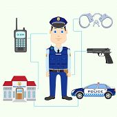 foto of policeman  - vector illustration of policeman with gun - JPG