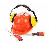 foto of muffs  - Hard hat ear muffs and screwdrivers - JPG