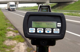 stock photo of mph  - Police radar speed control instrument at highway - JPG