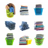 picture of clothes hanger  - stacks of clothing collection with basket clothes hanger washing powder and liquid isolated on white - JPG