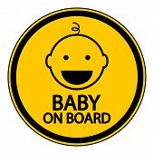 stock photo of sign board  - Baby on board sign on white background - JPG