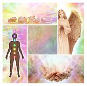 stock photo of chakra  - Four holistic images showing healing - JPG