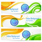 stock photo of ashok  - illustration of tricolor India banner with Indian flag - JPG