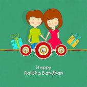 picture of rakshabandhan  - Cute little girl and boy holding hands together with red and golden gift boxes on green background - JPG