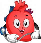 stock photo of bp  - Mascot Illustration Featuring a Heart Taking Its Blood Pressure - JPG