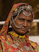 image of rajasthani  - Portrait of a India Rajasthani woman closeup - JPG