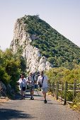 stock photo of gibraltar  - Portrait of happy elderly tourists walking on the Rock of Gibraltar - JPG