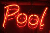pic of snooker  - Red pool neon sign at night outside a snooker club - JPG