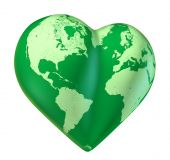 stock photo of loveless  - green Heart world map of love Valentine planet - JPG