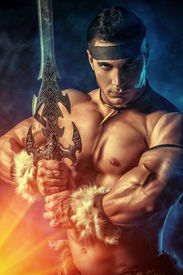 image of sword  - Portrait of a handsome muscular ancient warrior with a sword - JPG