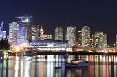 picture of arena  - Vancouver City skyline and Rogers Arena at night - JPG