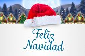 picture of quaint  - Feliz navidad against quaint town with bright moon - JPG