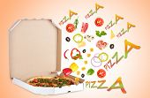 stock photo of hot fresh pizza  - Tasty pizza in pizza box and ingredients on color background - JPG