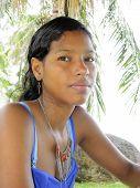 foto of creole  - Creole Latina Nicaraguan woman in thought Corn Island Nicaragua Central America  - JPG