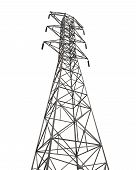 stock photo of power transmission lines  - Power Transmission Tower isolated on white background - JPG