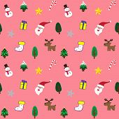 picture of christmas theme  - Cute Christmas theme in pink background seamless pattern - JPG