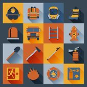 stock photo of fire brigade  - Firefighter flat icons set with badge ladder hat alarm equipment isolated vector illustration - JPG