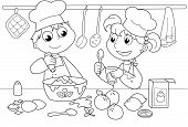 Постер, плакат: Young kids cooking