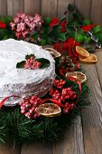 image of desert christmas  - Christmas cake with wreath on wooden background - JPG