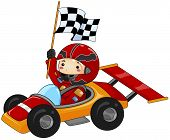 picture of karts  - An Illustration of a Boy on Go Kart with Clipping Path - JPG