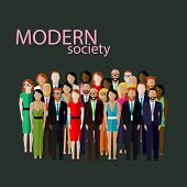 pic of mature men  - vector flat  illustration of business or politics community - JPG