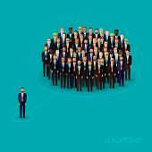 image of politician  - vector flat illustration of a leader and a team - JPG