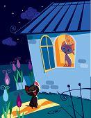 stock photo of serenade  - Vector illustration of funny cat singing serenade to his girlfriend - JPG