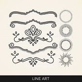 stock photo of classic art  - vector set of  line art elements for design - JPG
