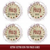 Постер, плакат: Vintage poker icons for poker games presentation