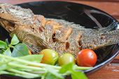 picture of plate fish food  - Fried fish in plate food in Thailand image - JPG