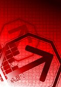 picture of octahedron  - Red background for your design with big arrow - JPG