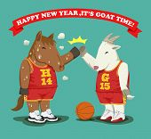 foto of year horse  - Basketball style sweaty fat horse give high five with fat goat as a year - JPG